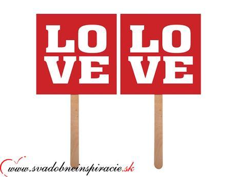"""Kartičky s nápisom """"Love"""" (2 ks) ,"""