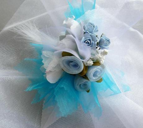 Kvetinový náramok n004 - tyrkysová,