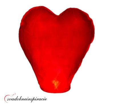 Lietajúci lampión šťastia - Červené srdiečko,