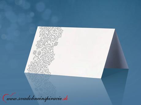 Menovky na stôl - Strieborný ornament (25 ks) ,