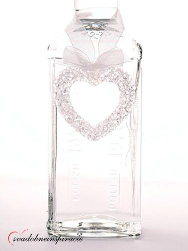 Ozdoba na fľašu - kryštálové srdiečko (10 ks),