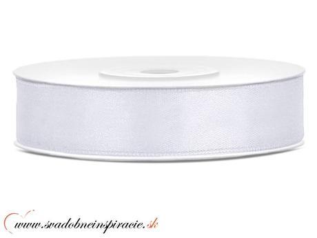 Ozdobná saténová stuha 1,2 cm biela,