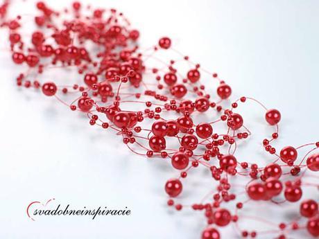 Perlová girlanda - červená (5 ks),