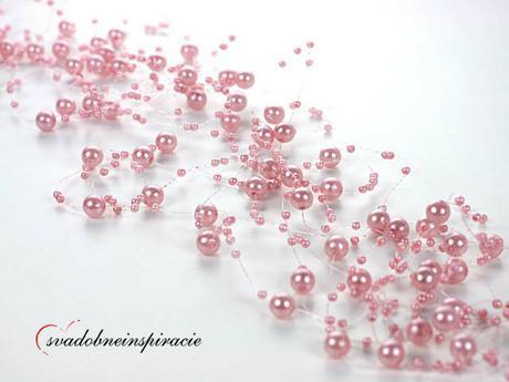 Perlová girlanda - ružová (5 ks),
