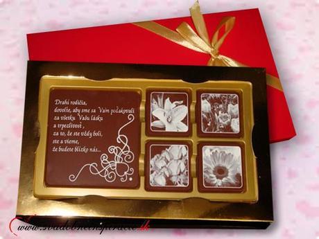 Poďakovanie pre rodičov - Čokoládová bonboniérka,