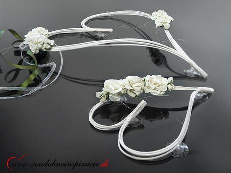 Ratanové srdiečka s ružou SMOTANOVO-ZELENÉ (2 ks),