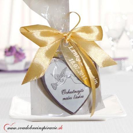 """Svadobná čokoládka """"SRDIEČKO"""" - aj s Vašimi menami,"""