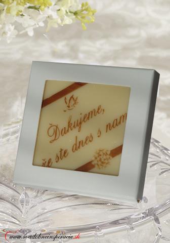 Svadobná čokoládka v kartóniku,