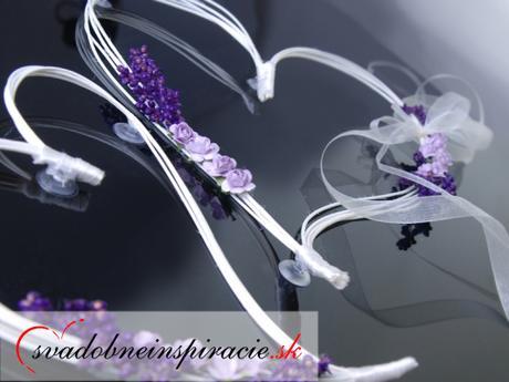 Svadobná ozdoba - Ratanové srdiečka s ružou Levand,