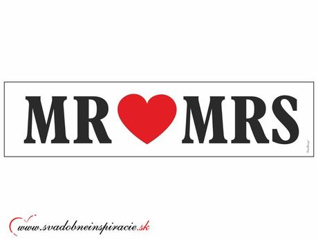 """Svadobná ŠPZ """"MR&MRS"""","""