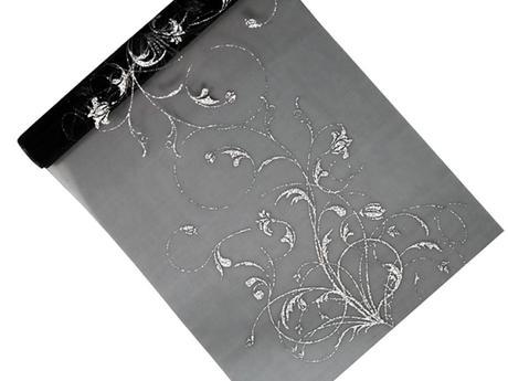 Organza 36 cm x 9 m černá s ornamentem,