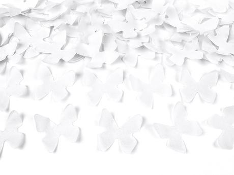 Vystreľovacie konfety biele motýle 40cm,