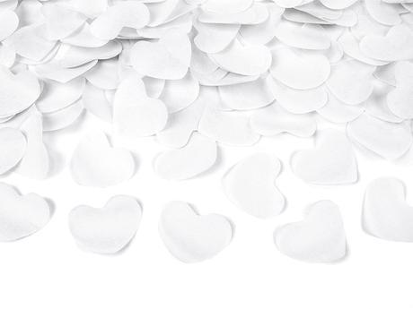 Vystreľovacie konfety biele srdiečka 40cm,