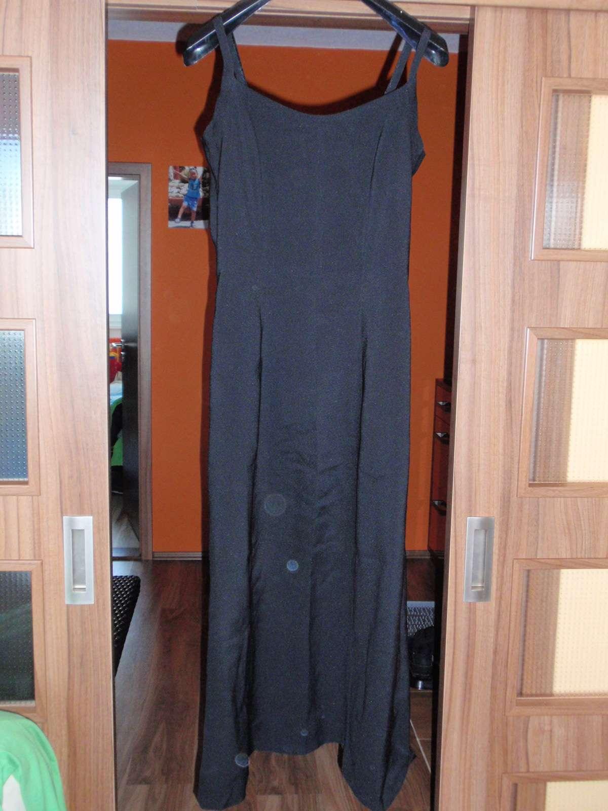 Čierne dlhé jednoduché šaty - veľ. 38 40 + kabelka 68e21c6dabf