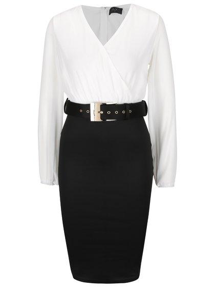 Čierno-krémové šaty s prekladaným topom a opaskom , M