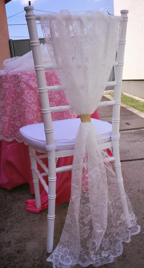 Prenájom čipkovej dekorácie na stoličku ,
