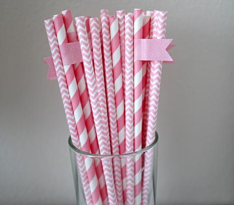 Starorůžová papírová brčka - 50 ks,