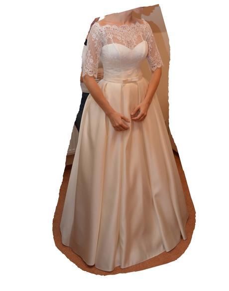 Šaty s čipkou a lodičkovým výstrihom, veľkosť 34 , 38