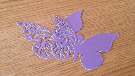 Fialové menovky v tvare motýľa,