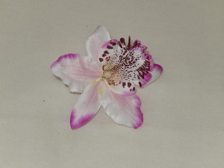 Látková bielo fialová tigrová orchidea ,