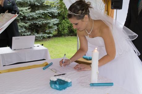 Tyrkysové svatební svíčky ,