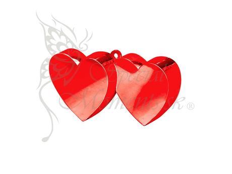 Balónové závažie červené dvoj-srdce - posledný kus,