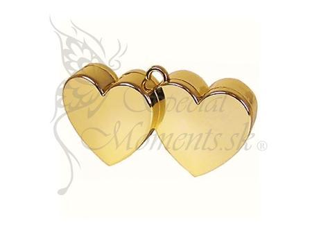 Balónové závažie zlaté dvoj-srdce - posledný kus,