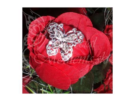 Bižutéria do kytice strieborný motýľ - set (4ks),