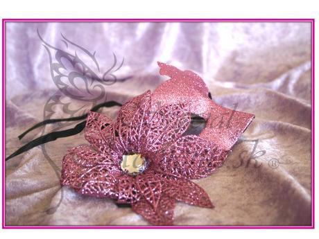Bledo ružová trblietková škraboška-posledné 3 kusy,
