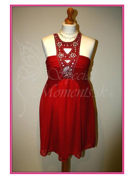 Červené mini šaty egyptský štýl - posledný kus, L