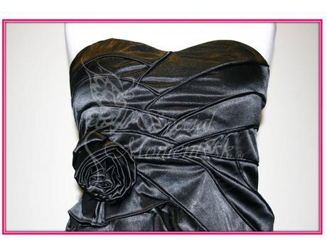 Čierne mini šaty s ružou - poledné 2 kusy, S