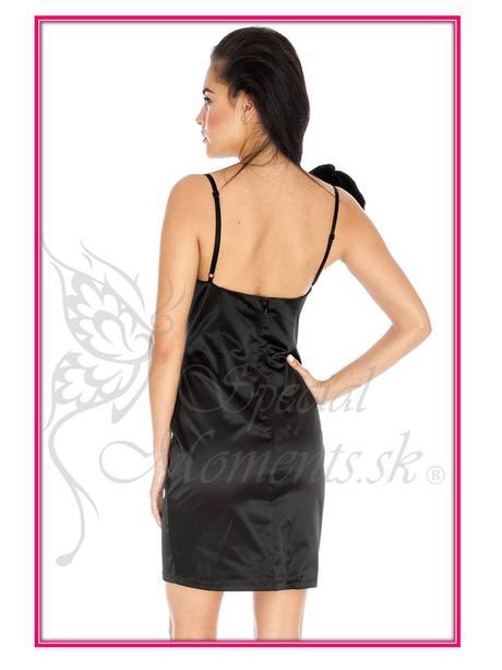 Čierne šaty s fialovou ružou - posledné 2 kusy, 44