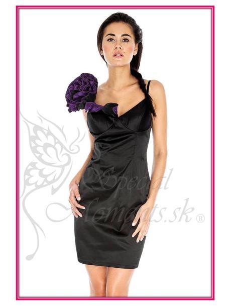 Čierne šaty s fialovou ružou - posledný kus, 36