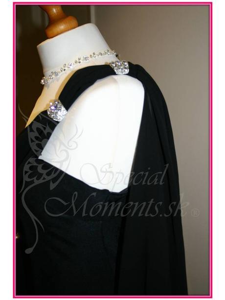 Čierne šaty v antickom štýle - posledný kus, L