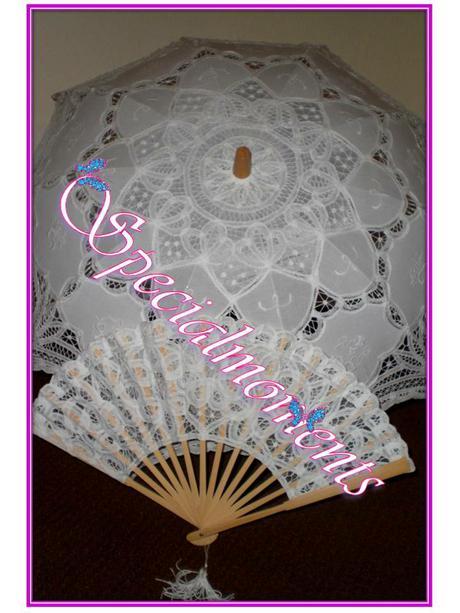 Čipkovaný svadobný dáždnik a vejár - rôzne farby,