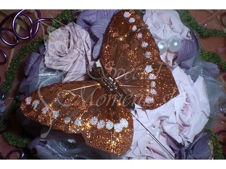 Dekoračný motýľ ružovo-fialový 12 ks / hnedý 12 ks,