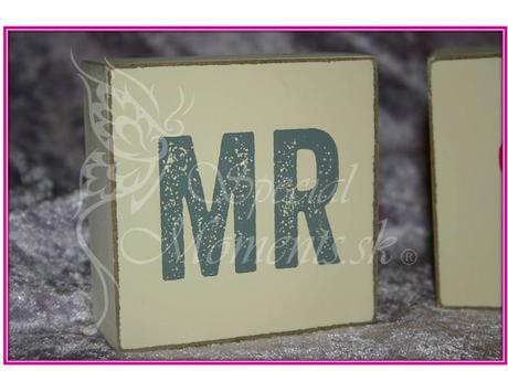 Drevené kocky Mr & Mrs - posledné sety,