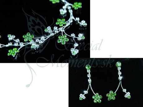 Krištáľový set Zelený kvet,