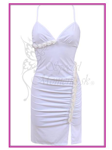 Letné biele mini šaty - posledný kus, L