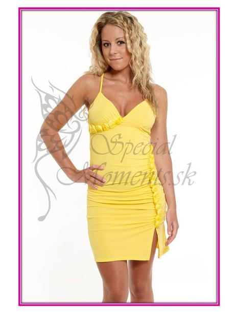 Letné žlté mini šaty - posledný kus, L