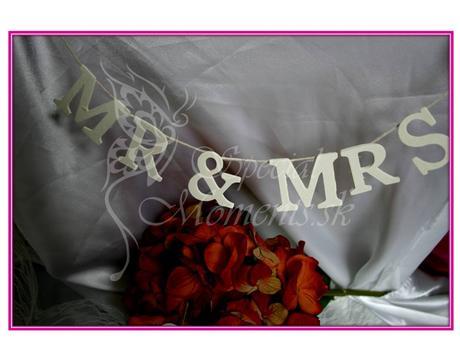 Mr a Mrs visiaca dekorácia - girlanda,