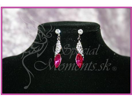 Ružové krištáľové náušnice Drop-posledné 2 ks ,