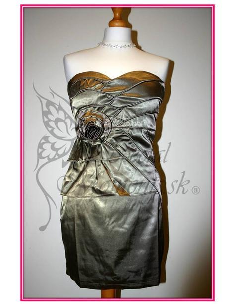 Šedé mini šaty s ružou - posledné 2 kusy, M