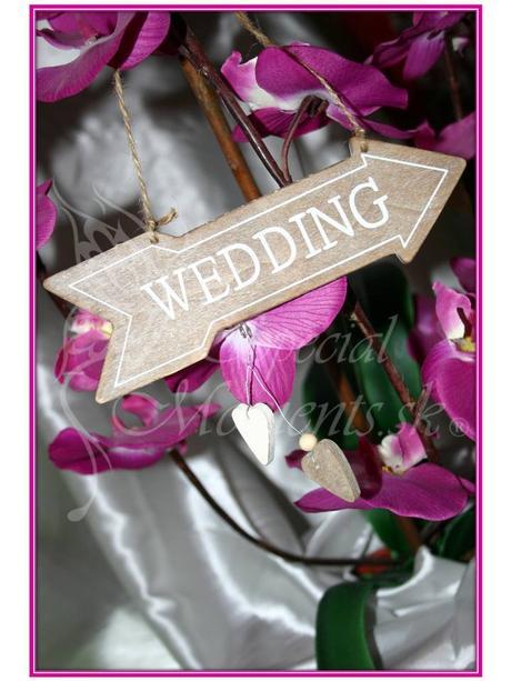 Tabuľka Wedding z prírodného dreva - výpredaj,