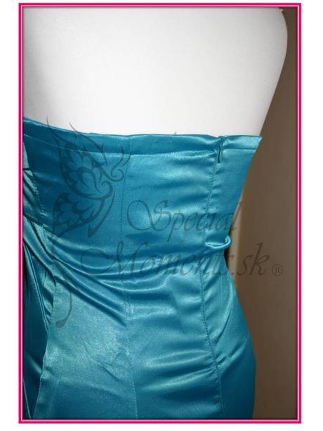 Tyrkysové mini šaty s ružou - posledný kus, L