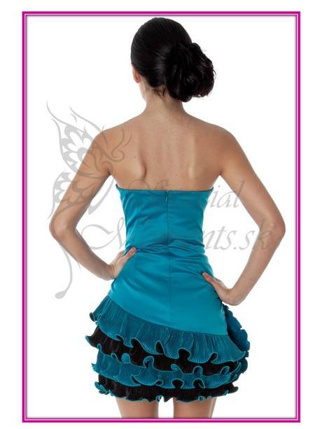 Tyrkysové mini šaty Volánová ruža - posledný kus, 34