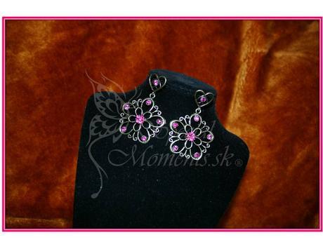 Visiace Vintage náušnice Ružový Kvet-posledný kus,