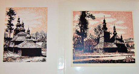 Originál grafiky,Drevené kostolíky,2ks,
