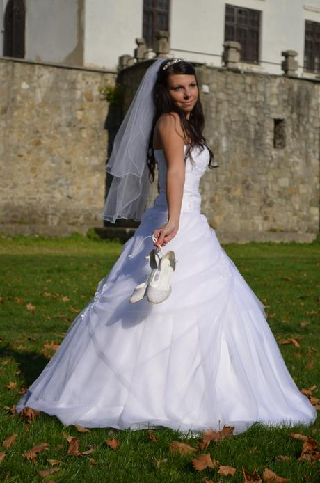 Princess tylové šaty snehobiele č.34-36 , 36