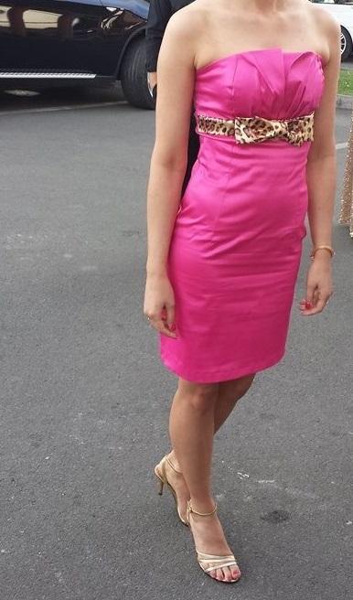 Cyklamem.korzetové šaty s mašľou 34 - 36 ( XS -S) , 36